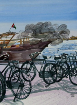 1628 Bicycles and Boat 56 x 43 Dhs8300