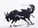 SW 42-19 Wild beast 2 Indian ink study 2Chinese Ink on Paper 31x23Cms #250