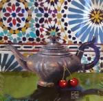 LJV 15-14 Tea & Cherries Pastel & acrylic on cotton paper 43x44Cms Dhs.4,500